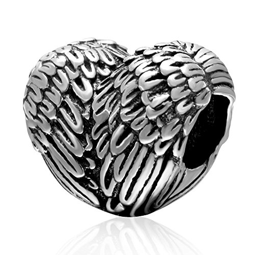 Feather Charm 925 Sterling Silver Angel Charm Wing Charm Heart Shape Charm Bead Fit Bracelets
