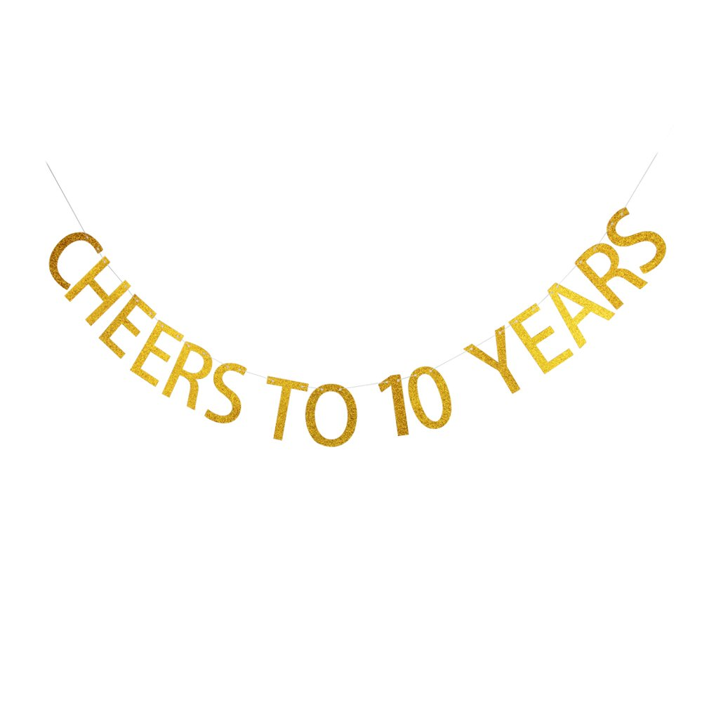 Amazon com cheers to 10 years banner 10th birthday party decorations gold glitter letters birthday bunting health personal care