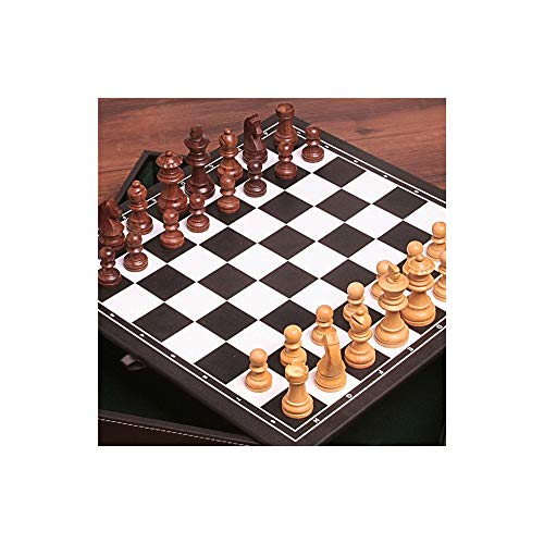 (ZEYUGTIW Wood Chess Set Game, Portable Game of International Chess, High-Grade Leather Box Chessboard Wood Chess Pieces)