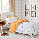 Monster Mash Printed Duvet Cover Set Single Size - White & Orange Fun and Silly Monster Motifs Design - 2 Pcs Ultra Soft Hypoallergenic 100% Cotton Children's Bedding