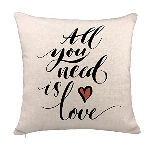 Price comparison product image All You Need Is Love Throw Pillow Case Cushion Cover Cotton Linen 18 x 18 Inch,Valentine's Day Quotes