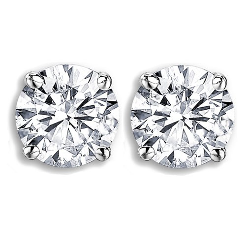 Dazzlingrock Collection GIA Certified 1.01 Carat ctw 14K Round Cut White Diamond Ladies Solitaire Stud Earrings 1 CT, White Gold