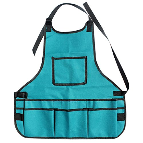 MuLuo 600D Oxford Fabric Waterproof Multi Pockets Adjustable Apron Toolkit Garden Greening Work Clothes Blue by MuLuo