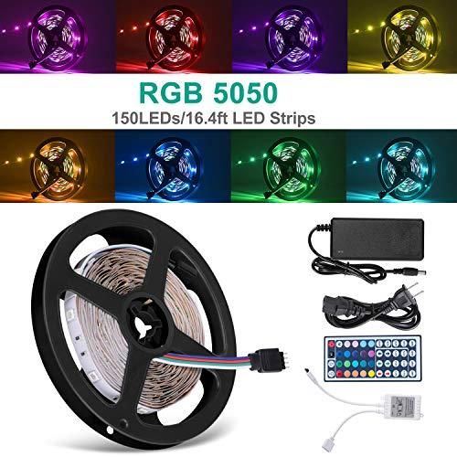 DELWE 16.4ft LED Flexible Strip Lights, 150 Units 5050 RGB LED Strip Lights, DC 12v LED Strip Lights with 44Key...
