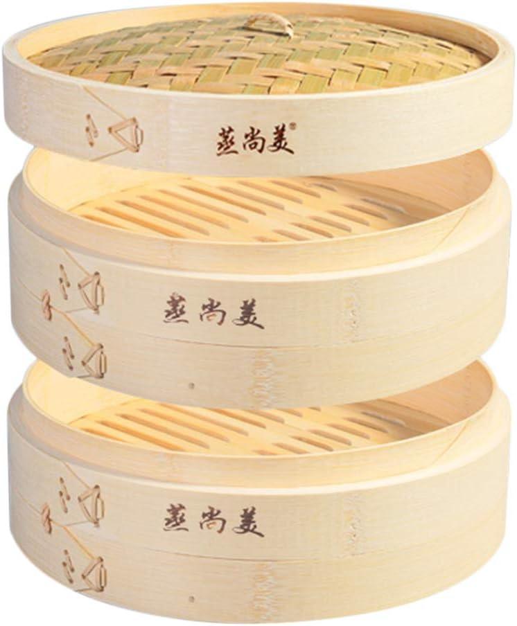 Hcooker 2 Tier Kitchen Bamboo Steamer Basket for Asian Cooking Buns Dumplings Vegetables Fish Rice