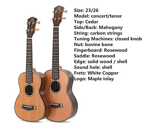 Ukulele Top Solid Soprano Concert Tenor 23 Inch Electric Guitar Ukelele Cutaway Spruce Mahogany Cedar 4 Strings Pick UP
