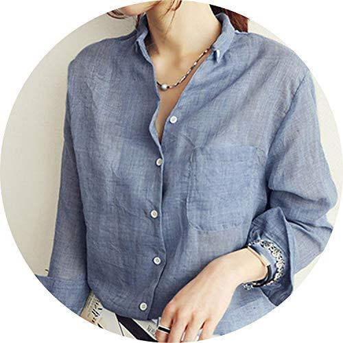 Chemisier Femme Womens Tops Fashion 2019 Autumn Linen White Shirt Women Long Sleeve Blouse,Denim Blue Shirt,L]()