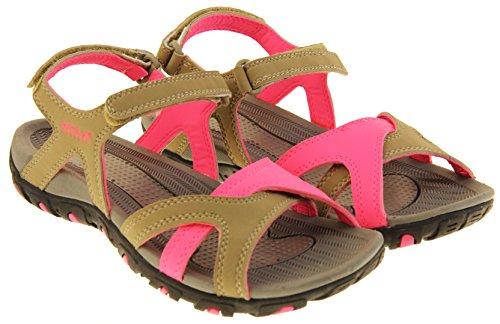 Gola Mujer Sandalias de Caminata Marrón Claro y Rosa Brillante