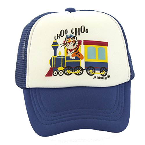 Choo Choo Train On Kids Trucker Hat. The Kids Baseball Cap Is Available In Blue or Black Mesh Back. The Kids Ball Cap Fits (Kiddo 2.5-6 Years, Royal (Childs Ball Cap)
