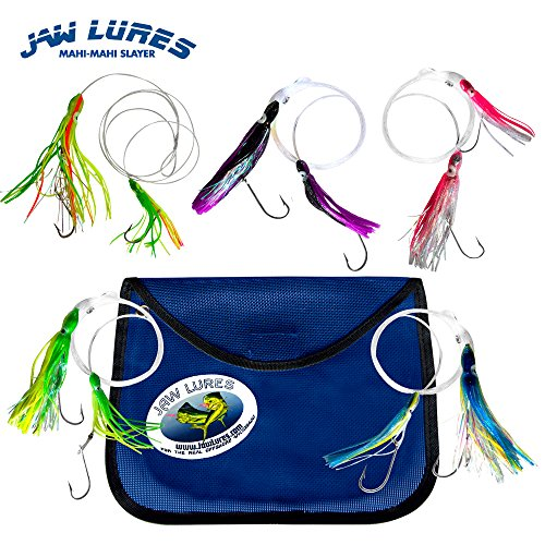 Jaw Lures Mahi-Mahi Slayer Lure Combo | Offshore Fishing Lures Specifically Designed to Catch Mahi-Mahi, Blackfin Tuna, Yellowfin Tuna, and Sailfin | 5 Pack of Ocean Lures With Mesh (Blackfin Tuna)