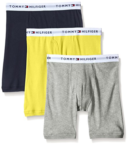 Tommy Hilfiger Men's Underwear 3 Pack Cotton Classics Boxer Briefs, Citron/Heather Grey/Black, Small