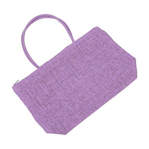 SODIAL(R) Damen Stroh Weberei-Sommer-Strand-Einkaufstasche Einkaufstasche mit Reissverschluss Reisen-Lila