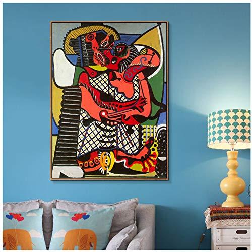 Pintura sobre lienzo El beso de Pablo Picasso Lamina de poster Cuadros de pared para dormitorio Sala de estar Decoracion del hogar -50x70cm Sin marco