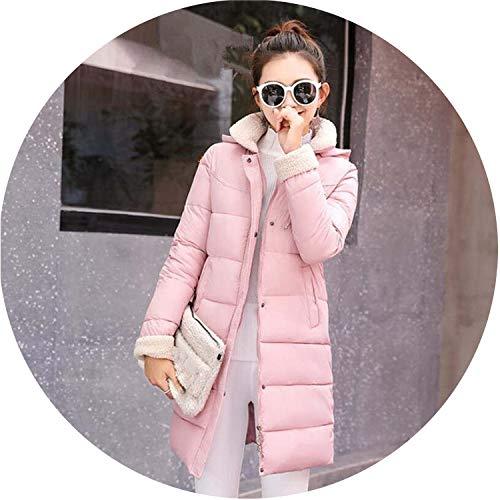 Women Winter Jackets Coats Down Cotton Hooded Parkas Feminina Warm Outwear,Pink,L