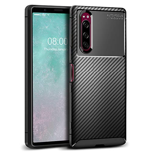 J&D Case Compatible for Xperia 5 Case, [Carbon Fiber Pattern] [Drop Protection] Shock Resistant Protective TPU Slim and Anti-Scratch Soft Case for Sony Xperia 5 Bumper Case - Black (Sony Xperia J Case)