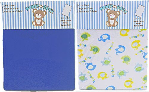 Honey Baby Blue Elephant Toddler Bed or Crib Sheets 2-Pack (100% Cotton)
