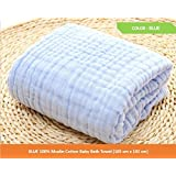 Kassy Pop Curated Just for You Baby Muslin Cotton Bath Towel Blanket, Swaddle (105 X 105 Cms, Blue)