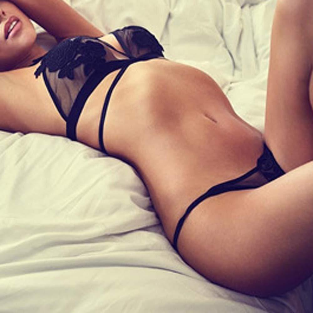 ❤ Conjunto de Tres Puntos Lencería Mujer, Sujetador de Encaje Adornado 2PCS Señoras de Las Mujeres Apliques de Encaje Sexy Seduce lencería Traje de Malla ...