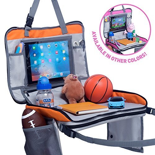 Premium Kids Travel Tray - 4 in 1 Car & Plane Seat Tray, Storage and Car Toy Organizer, Carry Bag and Tablet Holder and Snack Tray All In One - BRAND NEW LISTING - By Nimble Forrest (Orange)
