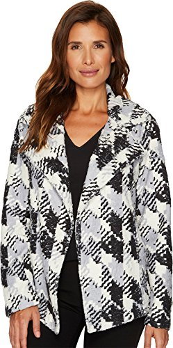 TWO by Vince Camuto Women's Broken Houndstooth Faux Fur Coat Rich Black Large