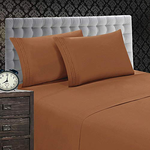 (Elegant Comfort 1500 Thread Count Luxury Egyptian Quality Wrinkle and Fade Resistant 4-Piece Sheet Set, King, Bronze)