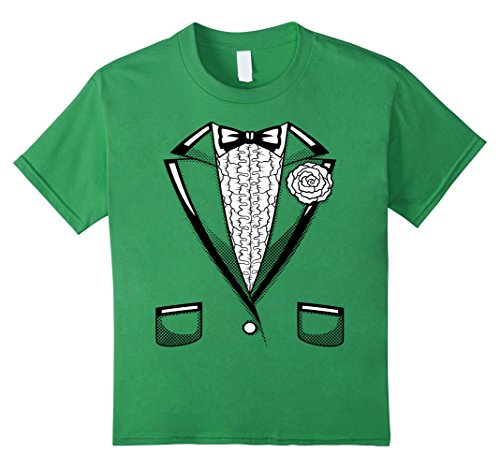 Kids Tuxedo T-Shirt | Boys Girls Halloween Prom Black Bowtie 6 Grass
