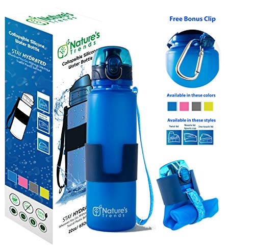 Collapsible Water Bottle - BPA-Free Eco Hiking Bottle - Foldable Gym Bottles - Camping Bottle Travel Accessories Lightweight Silicone Water Bottle Compact Leakproof Water Bottle (Blue-One Touch lid)