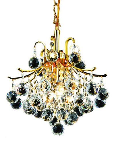 Collection 15 Light Chandelier (Elegant Lighting 8000D12G/RC Toureg 15-Inch High 3-Light Chandelier, Gold Finish with Crystal (Clear) Royal Cut RC Crystal)