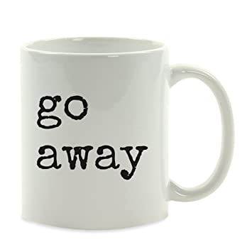 Funny Rude Coffee Mug Gift Typewriter Style Go Away
