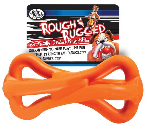Rough and Rugged Spiral Rubber Bone Dog Toy, 4-Inch, Colors Vary, My Pet Supplies