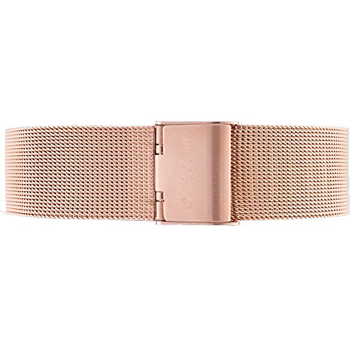 WRISTOLOGY 18mm Womens Metal Mesh Easy Change Interchangeable Strap Band (Rose Gold)