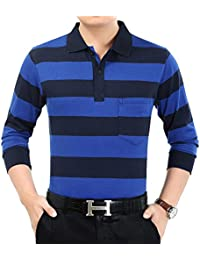 XTAPAN Men's Casual Stripe Long Sleeve Slim Fit Polo Cotton T Shirt With Pocket