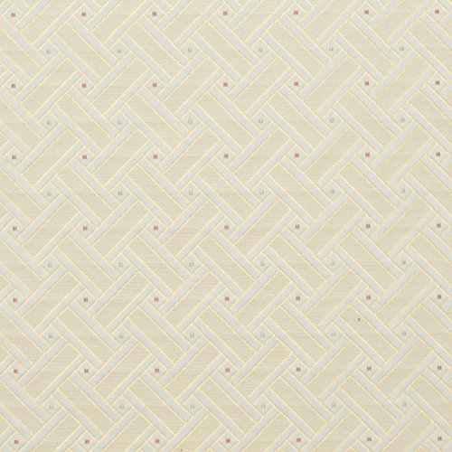 D135 Gold White Red and Green Lattice Brocade Upholstery Fabric by The Yard