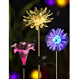 BRIGHT ZEAL [Set of 3] LED Color Changing Solar Stake Lights Outdoor - Solar Light LED Garden Decor Statues (DANDELION, LILY, SUNFLOWER) - Patio Lights LED Outdoor Multicolor Changing LED Lights