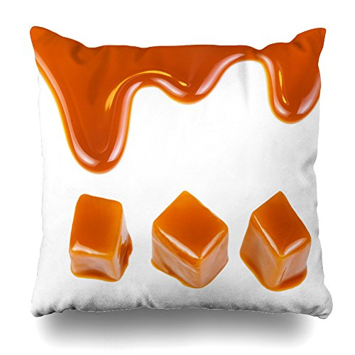 Decorativepillows Case Throw Pillows Covers for Couch/Bed 20 x 20 inch,Caramel Candies Sauce Golden Butterscotch Toffee Candy Home Sofa Cushion Cover Pillowcase Gift