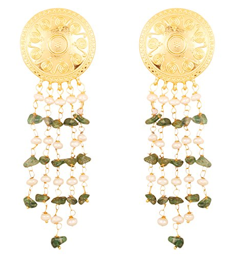 Touchstone Indian Bollywood Ethnic Style Carving Work Bahubali Inspired Designer Jewelry Dangling Round Earrings Hung with Natural Uncut Aventurine and Fresh Water Pearls for Women in Gold Tone.