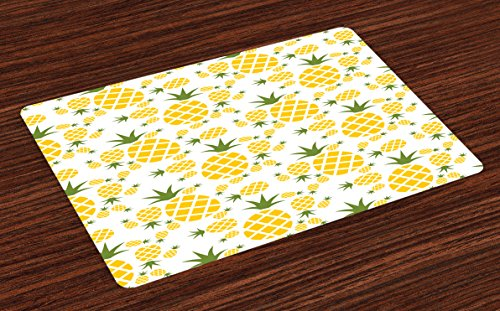 Lunarable Pineapple Place Mats Set of 4, Pineapple in Pictogram Design Vintage Style Pattern Farm Vibrant Color, Washable Fabric Placemats for Dining Room Kitchen Table Decoration, Mustard Olive Green (Dinner Olive Green Plate)