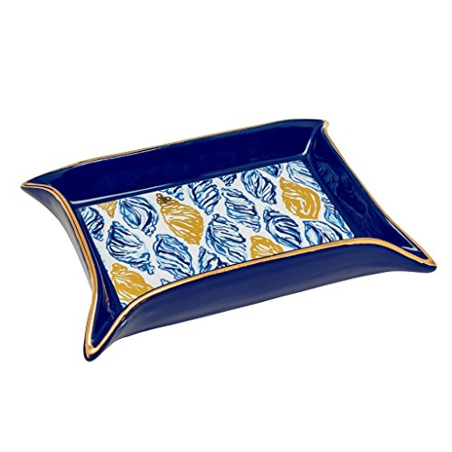 Lilly Pulitzer Women's Trinket Tray, Drop In,Navy, Gold, -