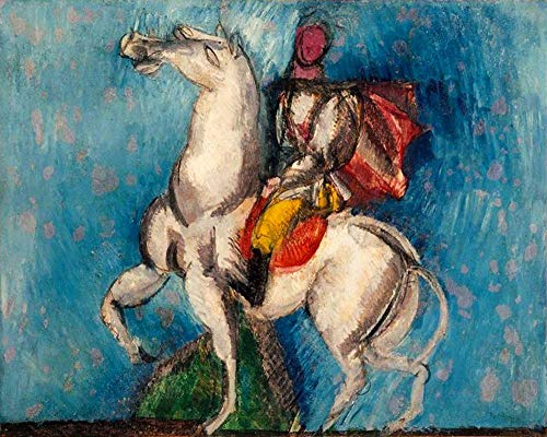 Handpainted Reproduction Raoul Dufy 120X95 cm (Approx. 48X38 inch) - The Arab Horseman The White Knight Racing Paintings Canvas Wall Art Fauvist Art Deco Decorative Geometric Poster Rolled]()