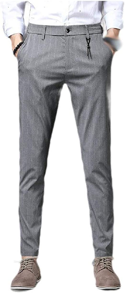 AngelSpace Men's Middle Waist Straight-Fit Casual Leisure Business Plain-Front Pant