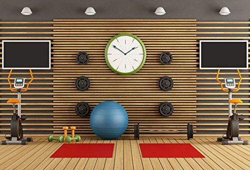 OFILA Gym Backdrop 25x2ft Clock Fitness Ball Sports Equipment Photos Physical Exercise Club Background Gymnasium Coach Health Exercise Shoots Video Studio Props