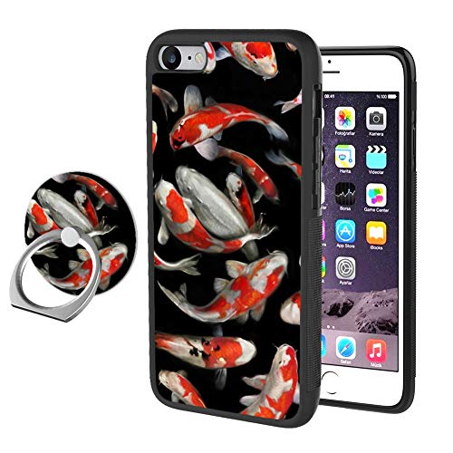 Odiasnquq Designed Carp Brocade iPhone 7 8 Case with Ring Holder Stand 360 Degree Rotatable and Durable Ring Stand, TPU Rubber Carp Brocade Case for iPhone 7 8 (Brocade Poly)