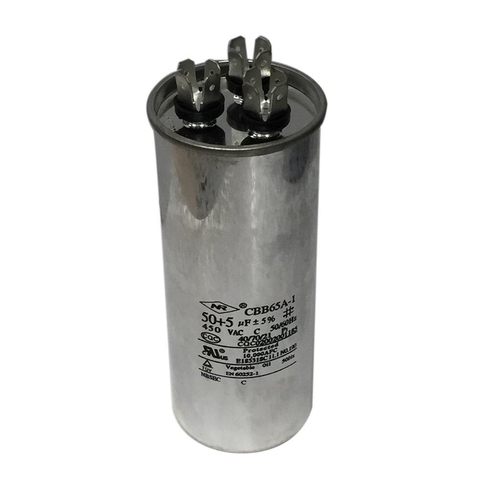 Dual Run Capacitor Premium Motor Air Conditioner Capacitor 450 Volt 50+5 MFD 50+5uF 50/5