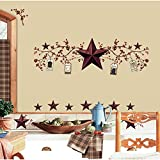 Country Decor RoomMates RMK1276SCS Country Stars and Berries Peel & Stick Wall Decals, 40 Count