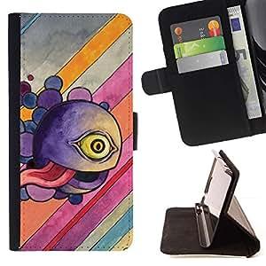 For HTC One M8 Case , Divertido Monstruo Ojo abstracto- la tarjeta de Crédito Slots PU Funda de cuero Monedero caso cubierta de piel