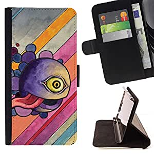 For HTC One Mini 2 M8 MINI Case , Divertido Monstruo Ojo abstracto- la tarjeta de Crédito Slots PU Funda de cuero Monedero caso cubierta de piel