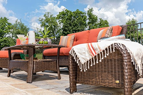 La-Z-Boy Outdoor Sawyer 6 Piece Resin Wicker Patio Furniture Conversation Set (Grenadine Orange) with All Weather Sunbrella Cushions - Relax in comfort with this beautiful outdoor patio furniture set. Perfect for deck, porch, firepit,and poolside conversation and drinks. Quick-drying deep seat cushions are covered in a high-performance Sunbrella fabric that allows for superior durability and colorfastness in all types of outdoor settings. All-weather textured resin wicker patio furniture weave with powder coated rust-resistant steel frame. - patio-furniture, patio, conversation-sets - 519ezRnTubL -