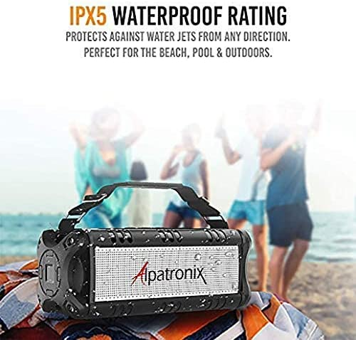 [Upgraded] Waterproof Bluetooth Speaker 60W (80W Max), Portable, Wireless, 8000mAh Power Bank, Shockproof, TWS, DSP, Stereo, Subwoofer, TF Card, Equalizer, Alpatronix AX500, Indoor & Outdoor – Black 519ezgi1vmL