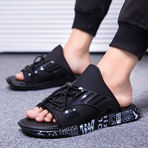 di Baotou Sandali estive Mezze Tela Black Pantofole dita da Uomo Scarpe uomo Tacco Scarpe Sandali AIHUWAI pigri spiaggia Pantofole stoffa da Sandali zqYX6Tw7