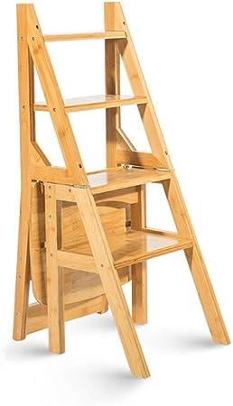 SEESEE.U Taburete de Madera Maciza Escalera multifunción Silla Hogar Cocina Escaleras Plegables de Doble Uso Silla móvil Escalera de 4 peldaños Taburete Ascendente: Amazon.es: Hogar